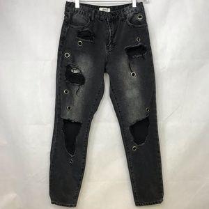Forever 21 Destroyed Jeans Sz 25 Black